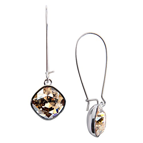 Pavilion-Gold Crystal Dangle Earrings made from Swarovski Elements