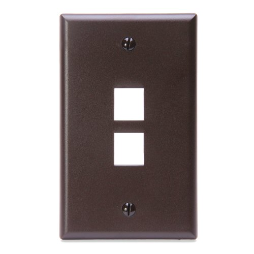 Leviton 41080-2BP QuickPort Wallplate, Single Gang, 2-Port, Brown (Plate Brown Wall)