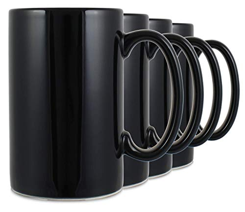 (Serami 17oz Black Classic Tall Mugs for Coffee or Tea. Large Handles and Ceramic Construction, Set of 4)