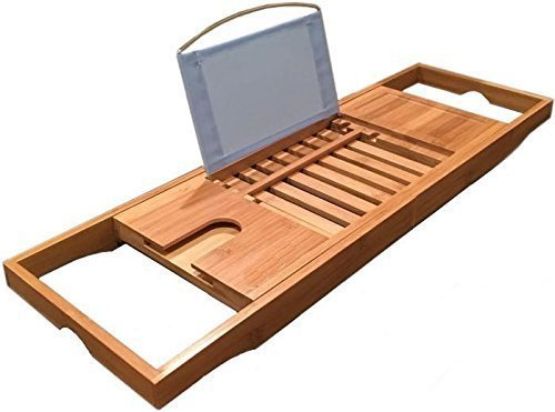 LUXURY 2016 Bamboo Bathtub Caddy With Free Bath Pillow ($14 Value) - Bathtub Tray Extends To 41' -...