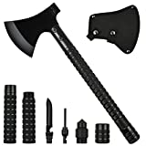Camping Axe Multi-tool Kit Survival Emergency Gear Portable Folding Collapsible Camp Ax Hatchet Tomahawk Tactical Hand Tool with Sheath Hammer for Hiking Backpacking Hunting Outdoor Adventures 17 inch