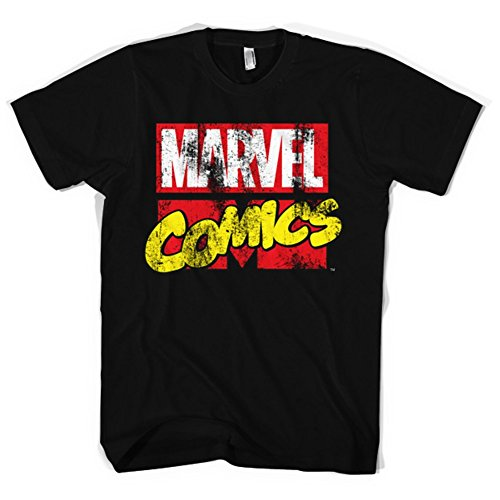 Marvel+Comics+Retro+Shirt Products : Official Men's Black Marvel Comics Distressed Logo T-shirt - Heros Tee