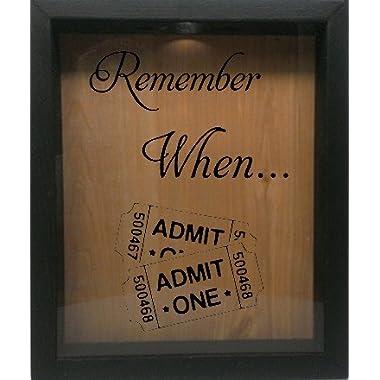 Wooden Shadow Box Wine Cork/Bottle Cap Holder 9x11 - Remember When With Tickets (Ebony w/Black)