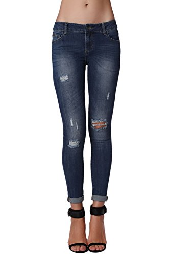 Q2 Mujer Vaqueros ajustados con lavado oscuro y rotos en las rodillas - S