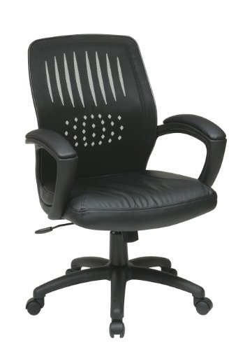 Office Star Screen Back Over Designer Contour Shell Managers Chair with Eco Leather Seat and Eco Leather Padded Arms, Black Eco Leather Conference Chair