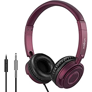 Headphones with Microphone, Vogek Lightweight Foldable on Ear Headset for Kids Teens Adults, Wired Stereo Headphones…