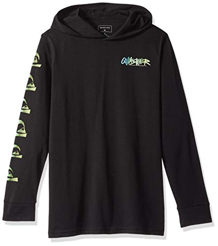 Quiksilver Boys' Big Rough Right Hood Youth Hoodie TEE Shirt, Black, M/12