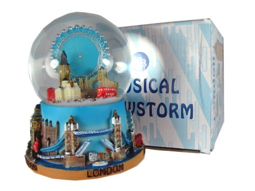 Large Musical Snowglobe - Extra Large Musical Snow Globe, Composite - Detailing London Eye and Skyline, London Collectable Souvenir