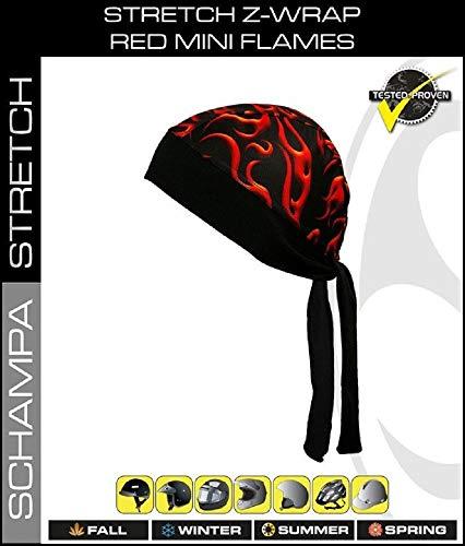 Moisture Wicking Stretch Z-Wrap Black Red Orange Flames Biker Bandanna Headwrap Durag Head Wrap