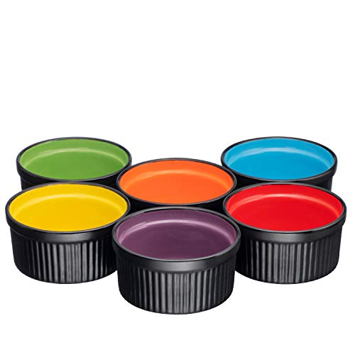 - Ceramic Ramekins 8oz. Set of 6 Deep Black w/Multi Colored Interior New Foam Safe Packing (Matte Black)