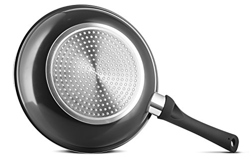 """Chef's Star 2 Piece Ceramic Non-Stick Frying Pan Set - 8"""" and 10"""" - Black"""