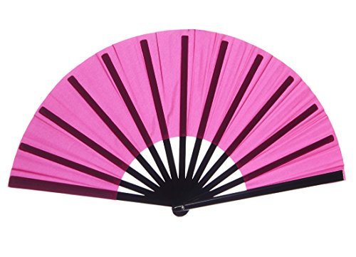 [Chinese Nylon-Cloth Fan for Ladies, Fuchsia] (Fan Costumes)