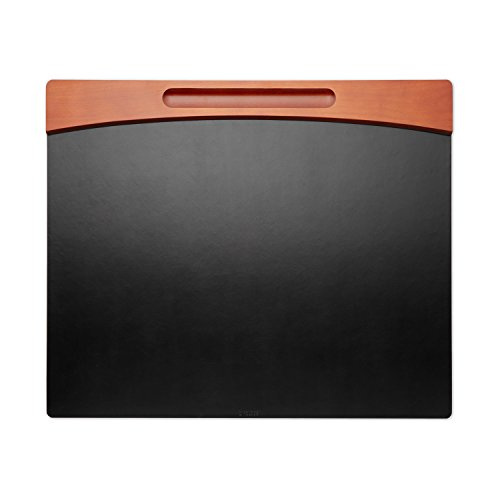 Rolodex Wood and Faux Leather Desk Pad, Mahogany and Black (81769)