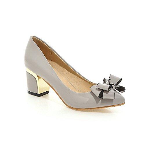 BalaMasa Womens Embroidered Chunky Heels Spun Gold Bowknot Gray Patent Leather Pumps-Shoes - 6 B(M) US
