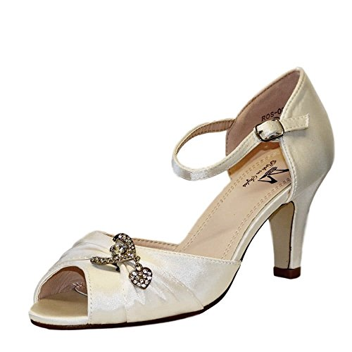 Elfenbein Styles Sandalen Mid Hochzeit 003 Braut on Damen Heel Satin Shoes Rock Diamante Low RpnBqR