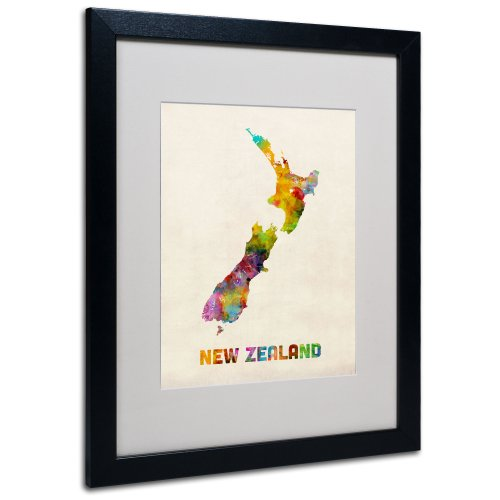 New Zealand Map by Michael Tompsett, White Matte, Black Frame 16x20-Inch (Framed Map Of New Zealand)