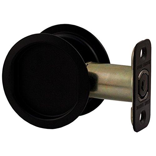 Stone Harbor Hardware, Round Pocket Door Lock, Passage Function, 2.375 inch Backset, Matte Black, HL81007