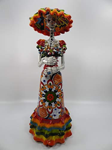 """22"""" TALAVERA CATRINA hand painted colorful mexican day of the dead figurine"""