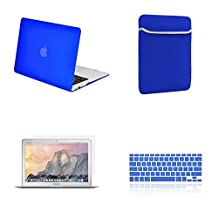 """Unik Case-4 in 1 13 Inch Rubberized Hard Case,Screen Portector,Sleeve Bag & Silicone Skin for Macbook 13"""" Air A1369/A1466 Shell Cover-Royal Blue"""