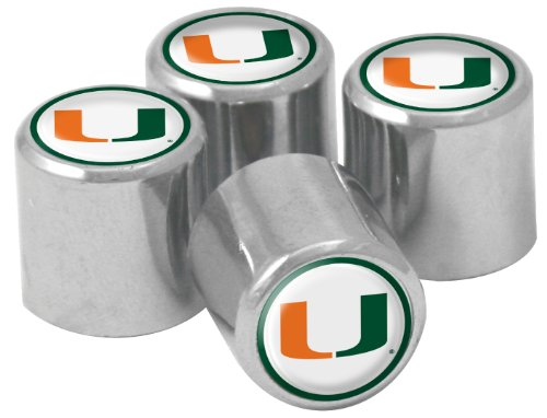 NCAA Miami Hurricanes Metal Tire Valve Stem Caps, 4-Pack