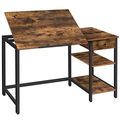 Escritorio para computadora HOOBRO, mesa de dibujo inclinable para dibujo, mesa de escritura con cajón y 2 estantes, escritorio para computadora portátil con barra antideslizante, estructura de hierro estable, marrón rústico BF75DN01