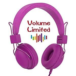 AILIHEN HD850 Kids Headphones Mic&Music Sharing Port, Volume Limited On-Ear Wired Headset Boys Girls Teens Children Toddler(Purple)