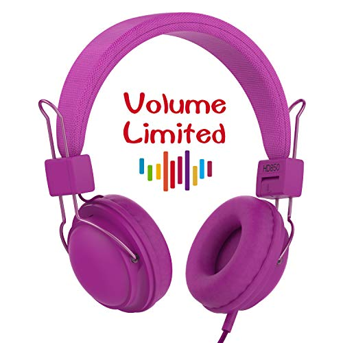 AILIHEN HD850 Kids Headphones with Mic&Music Sharing Port, Volume Limited On-Ear Wired Headset for Boys Girls Teens Children Toddler(Purple) by AILIHEN
