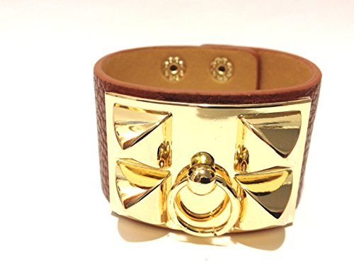 (Gold Pyramid Stud European Leather Cuff Bracelet - Brown Color)