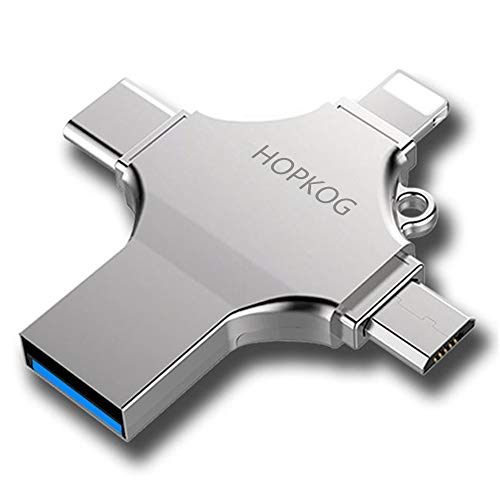 Hopkog iXpand Android iOS Micro USB C Flash Drive 32g Mini Thumb Drive OTG Memory Stick 4 in 1 External Storage 3.0 Compatible Support iPad iPhone 6s 8 Plus 5s 7 Dual Samsung MacBook Devices