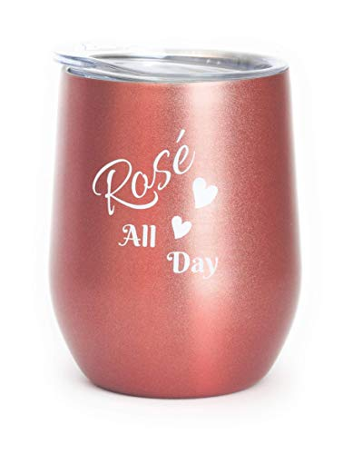 Rose Gold Wine Tumbler, ROSÉ ALL DAY 12 oz Stainless Steel Double-Insulated Tumbler with Lid for Wine, Coffee, Beer, Cocktails, Champagne, Gift for Wine Lovers, Bridesmaids and Girlfriends