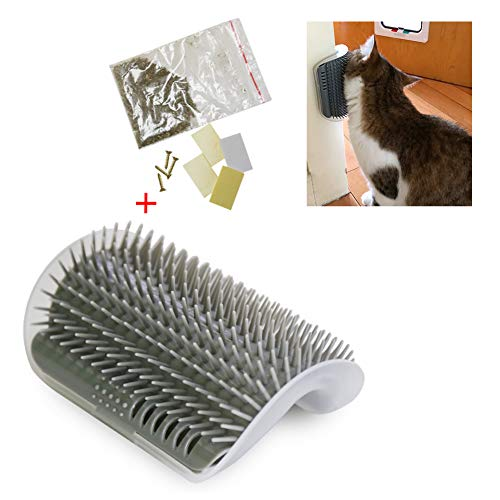 - Cat Self Groomer Hard Plastic Wall Corner Grooming Brush Massage,Remove Shedding Hair with Catnip Pouch,Screws,Double-sided Tapes for Long and Short Fur Cats,Kitties,Kittens(Gray)