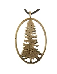 California Redwood Peace Bronze Pendant Necklace on Adjustable Natural Fiber Cord