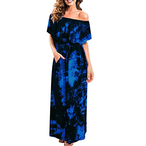 Womens Off The Shoulder Ruffle Party Dresses Ruffle Party Tie Dye Split Side Split Beach Maxi Dress Dark Blue ()