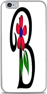 Monogram Letter B With Flower White Silicone Case for iPhone 6+ (5.5) by Debbie's Designs