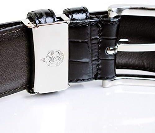 メンズ ビジネス ベルト クロコ型押し 牛革 ブラック 33mm幅 サイズ調整可能 MADE IN JAPAN