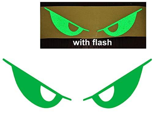 Green Evil Eyes No Fear Decal Reflective Safety Reflector Devil Demon Sticker 6