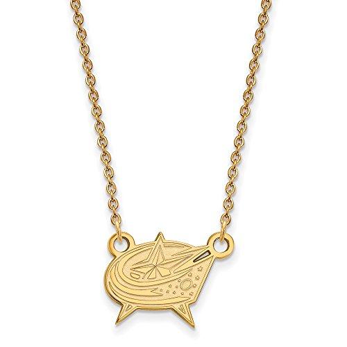 Roy Rose Jewelry 14K Yellow Gold NHL LogoArt Columbus Blue Jackets Small (Yellow Jackets Seal Pendant)