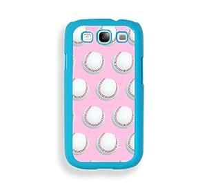 Baseball Pink Aqua Plastic Bumper Samsung Galaxy S3 SIII i9300 Case - Fits Samsung Galaxy S3 SIII i9300