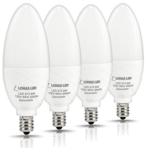 - LOHAS Dimmable Candelabra Bulb LED, 5000K Daylight E12 Candelabra Base Light LED, 75W Light Bulbs Equivalent(8W), 750 Lumens, Kitchen Chandelier Light for Lamp Fixtures, 120 Volts(Pack of 4)