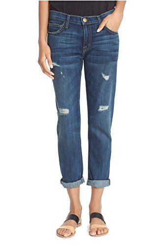 Current/Elliott Womens The Fling Denim Distressed Boyfriend Jeans Blue 25