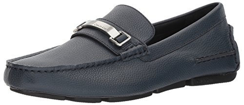 Calvin Klein Men's Mikos Tumbled Leather Loafer, Navy, 9 Medium (Navy Tumbled Leather)