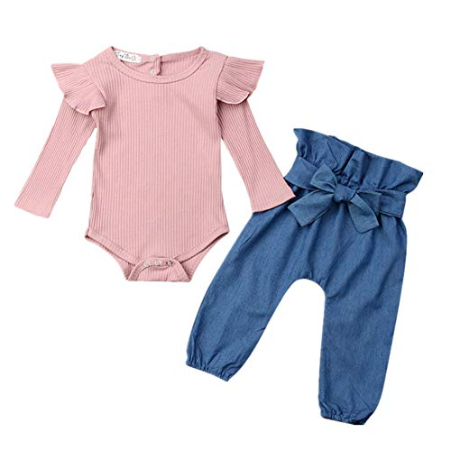 Newborn Baby Girl Clothes Ruffle Knitted Romper Tops Bowknot Denim Jeans Pants Outfits Clothes (High Waist Pants Suit, 0-6 Months)