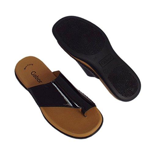Gabor Lanzarote Mulas De Cómoda Sandalia En Color Negro Patente BLACK PATN