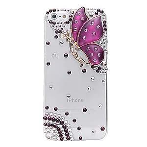 MOFY- Joyas de la mariposa Esp'ritu Cubierto de nuevo caso para iPhone 5/5S (colores surtidos) , Pœrpula