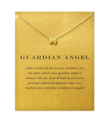 (SEWEI Angel Wing Necklace Nurse Gift Necklace (Golden Angel Wing))