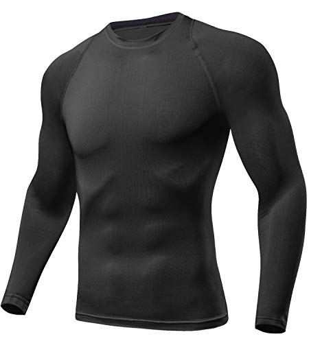 - Lavento Men's Compression Shirts Crewneck Long-Sleeve Dri Fit Workout Shirts (1 Pack-Black,Large)