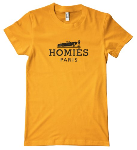 Faux Design - Homies Paris Black American Apparel T-Shirt, Gold, Medium