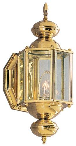 Progress Lighting P5757-11 Wall Lantern with Beveled Glass Panels, Antique Brass