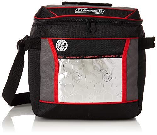 Cooler Bag Ice (Coleman 30-Can Insulated Soft Cooler with 24-Hour Ice Retention, Red/Black)
