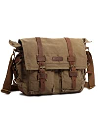 Kattee Classic Military Canvas Shoulder Messenger Bag Leather Straps Fit 16 inch Laptop (Army Green)